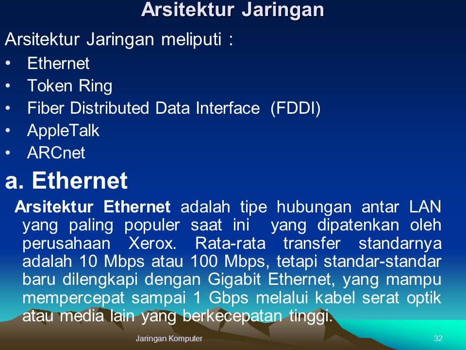 a. Ethernet Arsitektur Jaringan Arsitektur Jaringan meliputi :