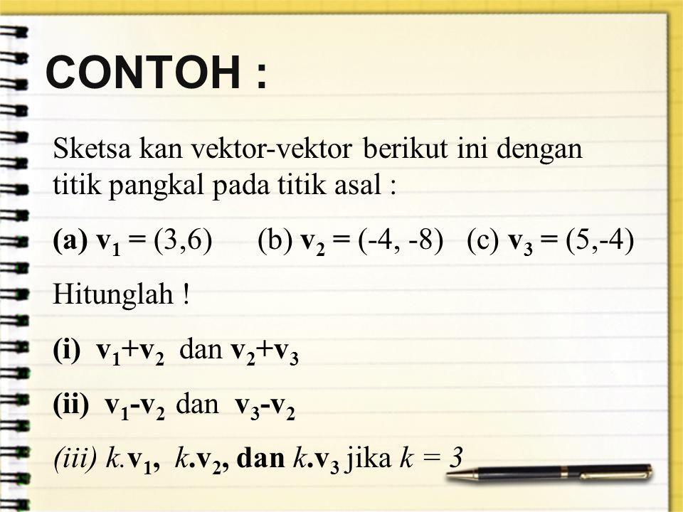 CONTOH : Sketsa kan vektor-vektor berikut ini dengan titik pangkal pada titik asal : v1 = (3,6) (b) v2 = (-4, -8) (c) v3 = (5,-4)