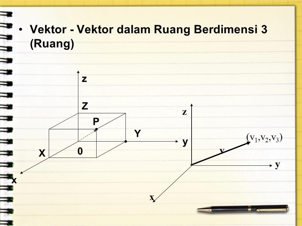 Vektor - Vektor dalam Ruang Berdimensi 3 (Ruang)