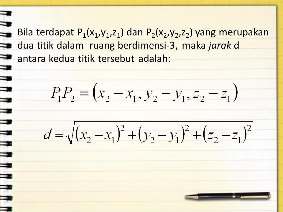 Bila terdapat P1(x1,y1,z1) dan P2(x2,y2,z2) yang merupakan dua titik dalam ruang berdimensi-3, maka jarak d antara kedua titik tersebut adalah: