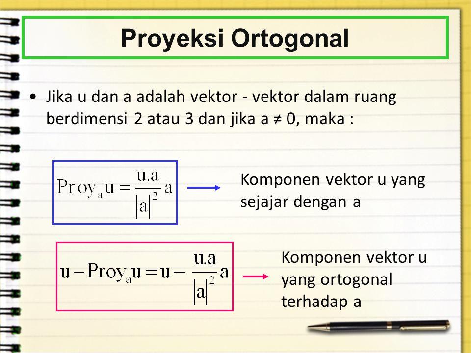 Proyeksi Ortogonal Jika u dan a adalah vektor - vektor dalam ruang berdimensi 2 atau 3 dan jika a ≠ 0, maka :