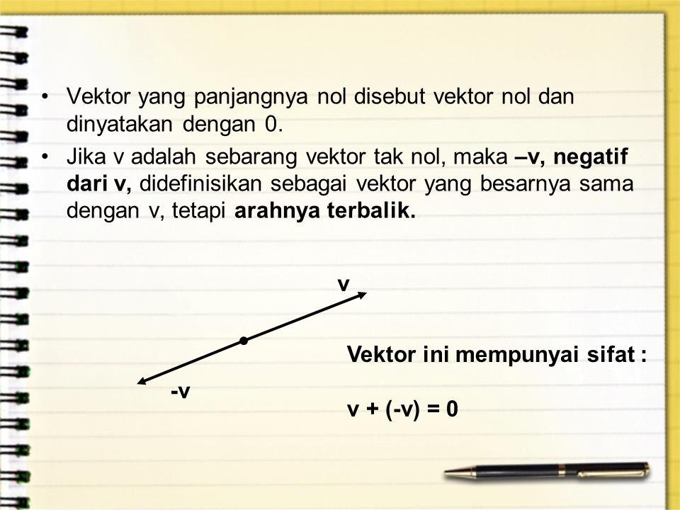 Vektor yang panjangnya nol disebut vektor nol dan dinyatakan dengan 0.