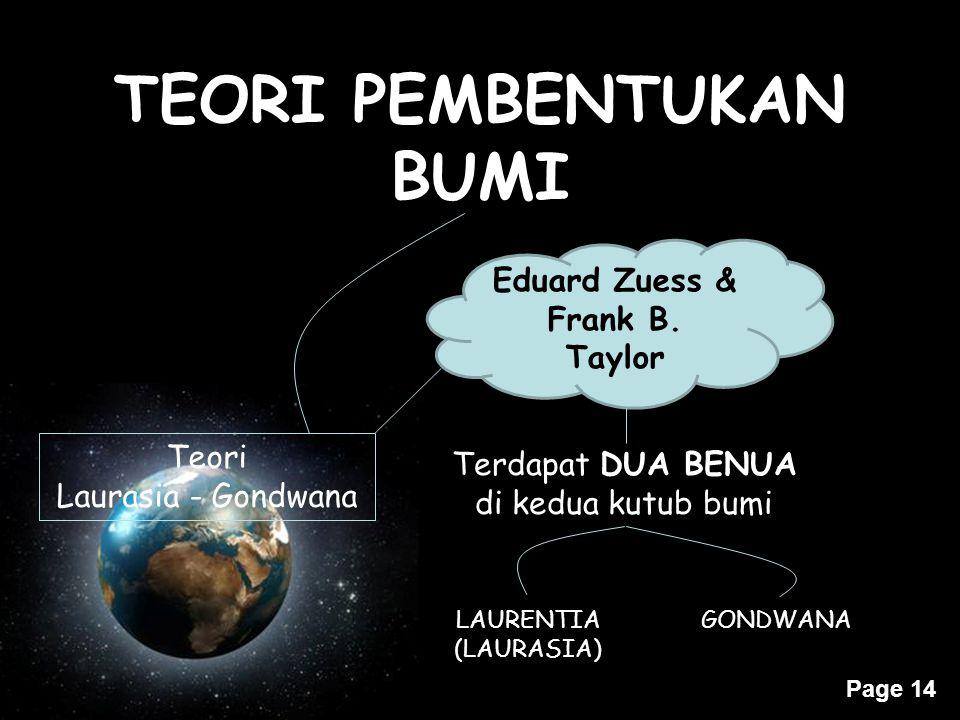 TEORI PEMBENTUKAN BUMI Eduard Zuess & Frank B. Taylor