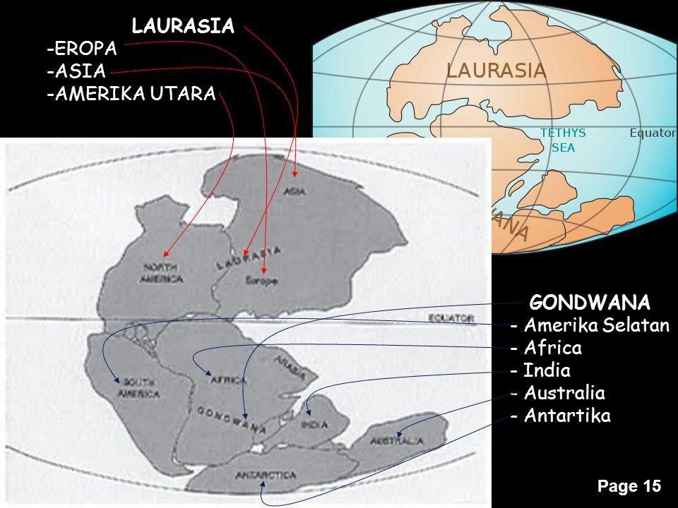 LAURASIA EROPA ASIA AMERIKA UTARA GONDWANA Amerika Selatan Africa India Australia Antartika