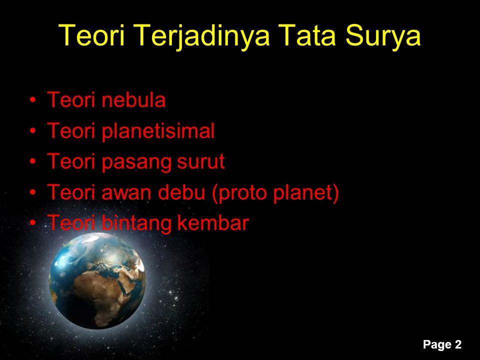 Teori Terjadinya Tata Surya