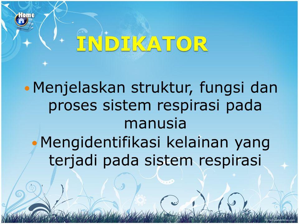 INDIKATOR Menjelaskan struktur, fungsi dan proses sistem respirasi pada manusia.