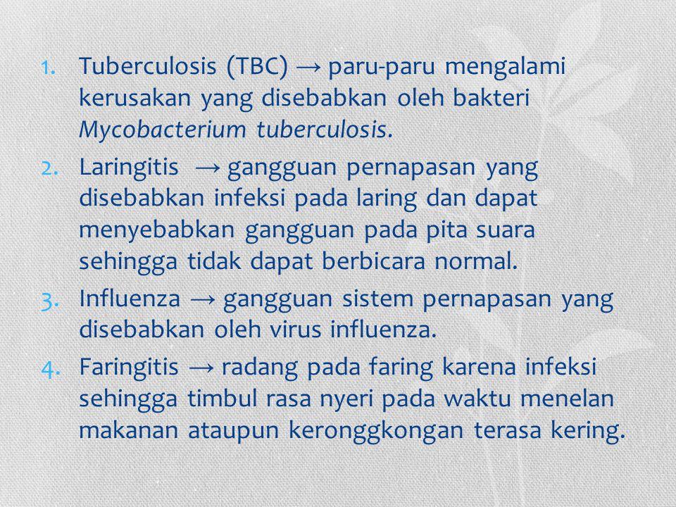 Tuberculosis (TBC) → paru-paru mengalami kerusakan yang disebabkan oleh bakteri Mycobacterium tuberculosis.