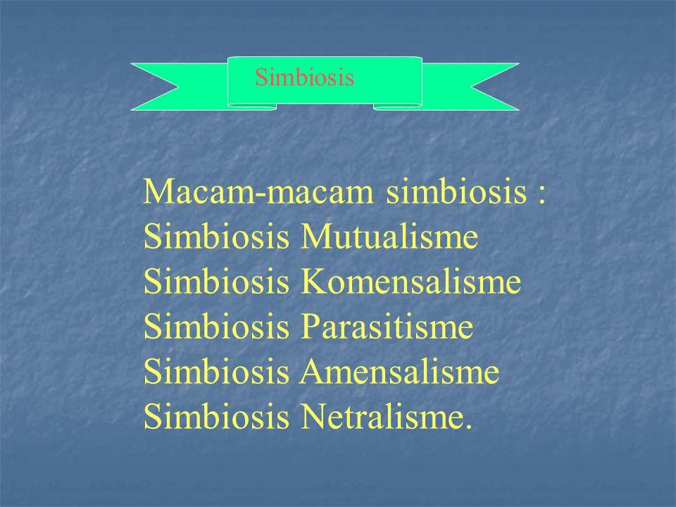 Macam-macam simbiosis : Simbiosis Mutualisme Simbiosis Komensalisme
