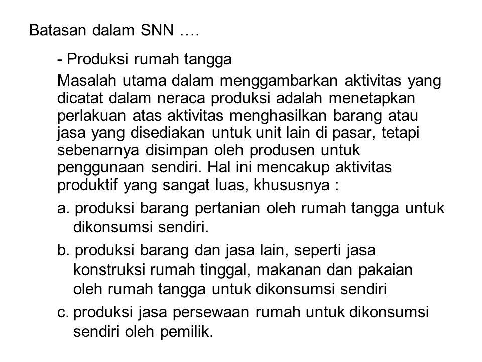 Batasan dalam SNN …. - Produksi rumah tangga.