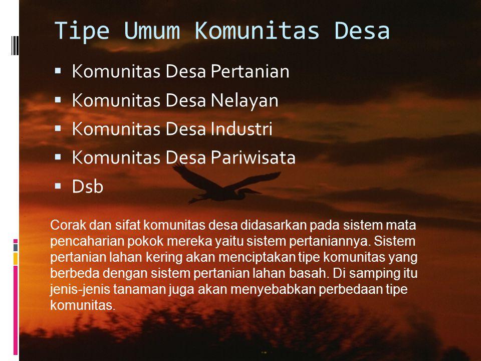 Tipe Umum Komunitas Desa