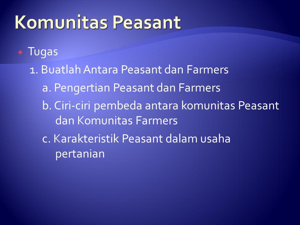 Komunitas Peasant Tugas 1. Buatlah Antara Peasant dan Farmers