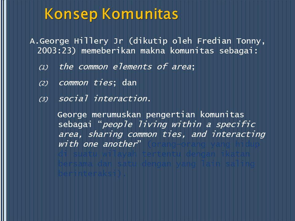Konsep Komunitas A.George Hillery Jr (dikutip oleh Fredian Tonny, 2003:23) memeberikan makna komunitas sebagai:
