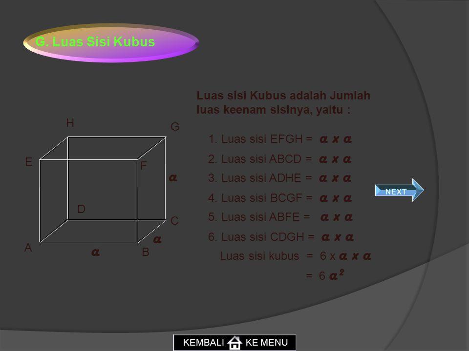 G. Luas Sisi Kubus Luas sisi Kubus adalah Jumlah luas keenam sisinya, yaitu : H. G. 1. Luas sisi EFGH = a x a.