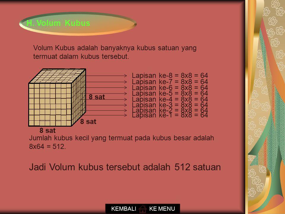 Jadi Volum kubus tersebut adalah 512 satuan