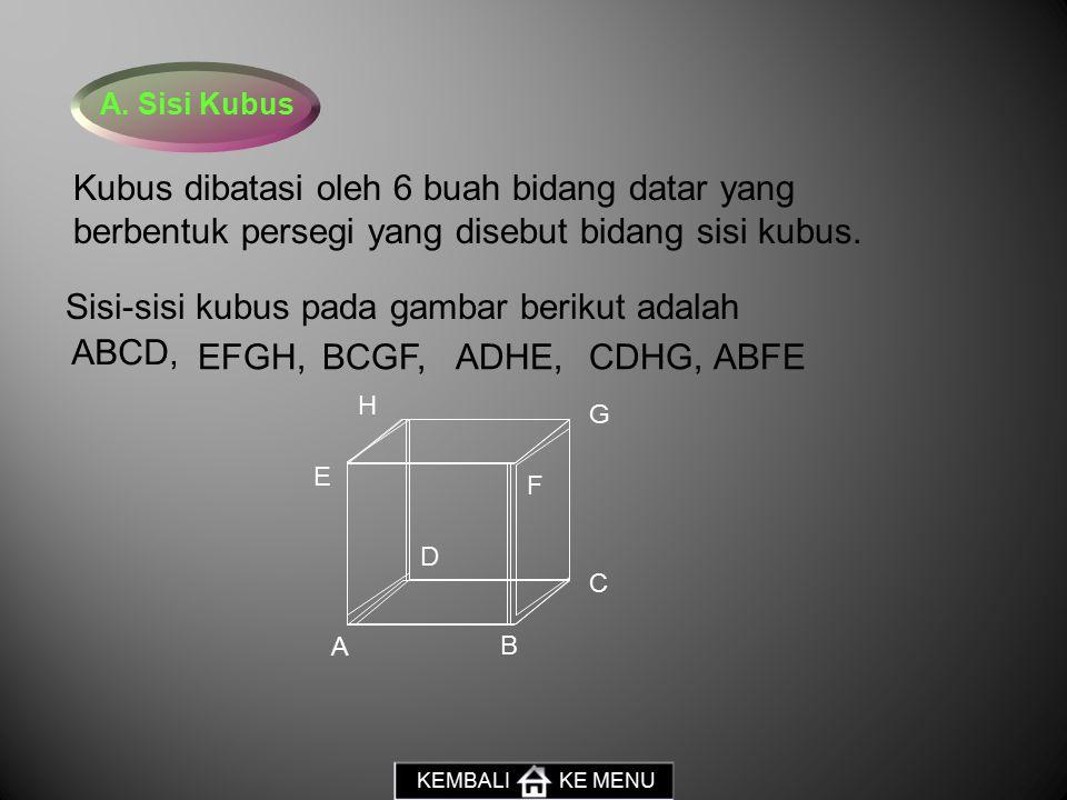 Sisi-sisi kubus pada gambar berikut adalah ABCD, EFGH, BCGF, ADHE,