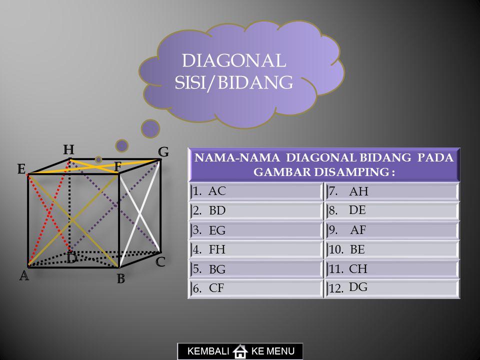 NAMA-NAMA DIAGONAL BIDANG PADA GAMBAR DISAMPING :