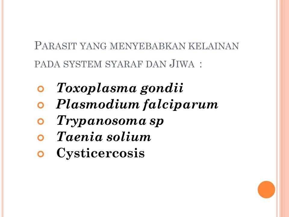 Parasit yang menyebabkan kelainan pada system syaraf dan Jiwa :