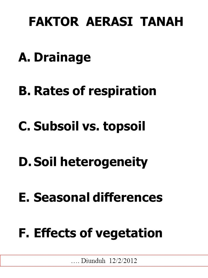 FAKTOR AERASI TANAH Drainage Rates of respiration Subsoil vs. topsoil