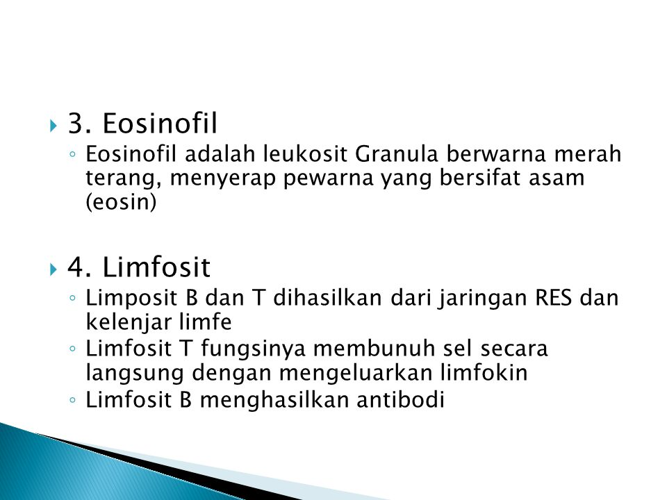 3. Eosinofil Eosinofil adalah leukosit Granula berwarna merah terang, menyerap pewarna yang bersifat asam (eosin)