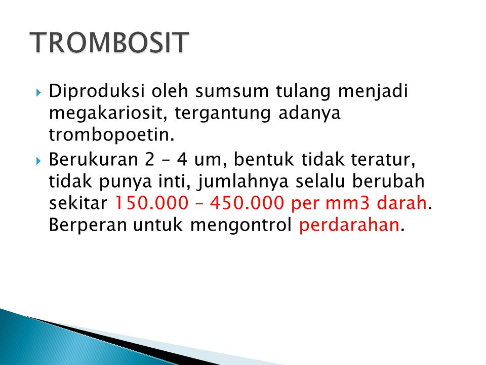 TROMBOSIT Diproduksi oleh sumsum tulang menjadi megakariosit, tergantung adanya trombopoetin.
