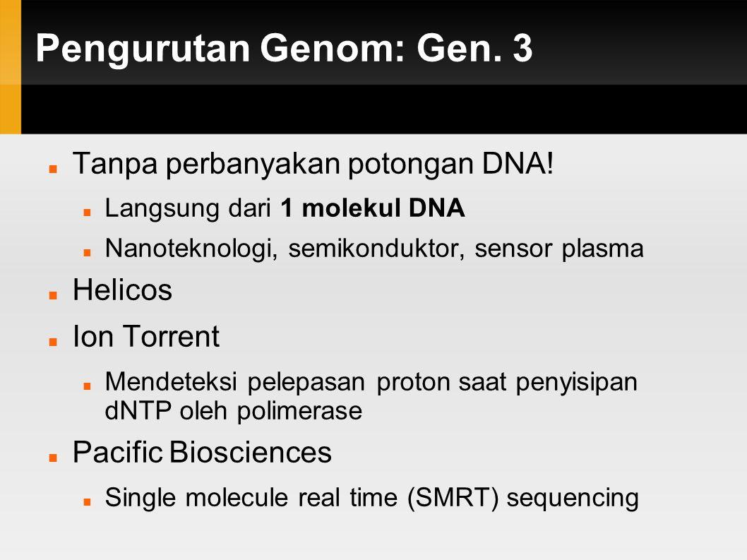Pengurutan Genom: Gen. 3 Tanpa perbanyakan potongan DNA! Helicos