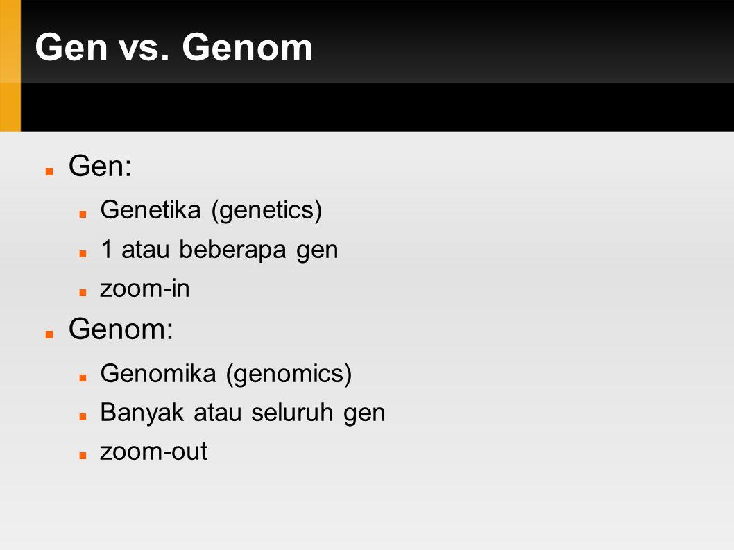 Gen vs. Genom Gen: Genom: Genetika (genetics) 1 atau beberapa gen