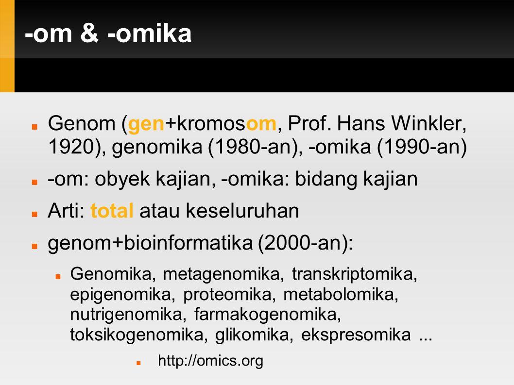 -om & -omika Genom (gen+kromosom, Prof. Hans Winkler, 1920), genomika (1980-an), -omika (1990-an) -om: obyek kajian, -omika: bidang kajian.