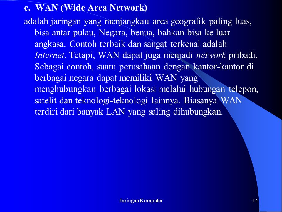 c. WAN (Wide Area Network)