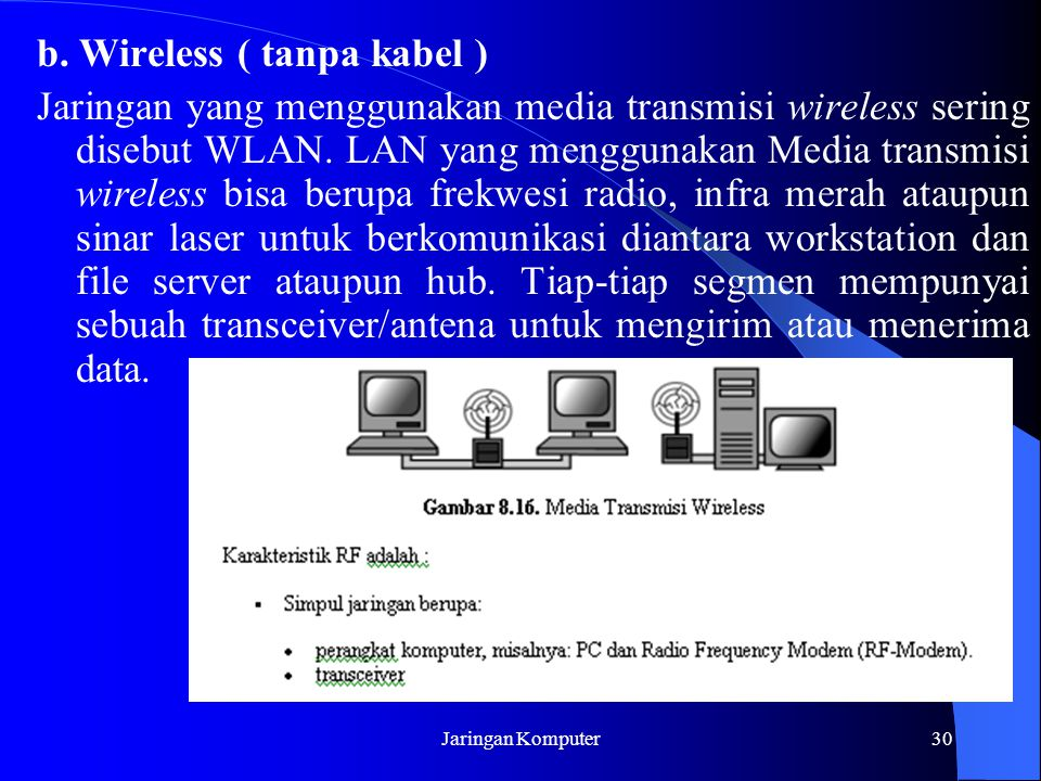 b. Wireless ( tanpa kabel )