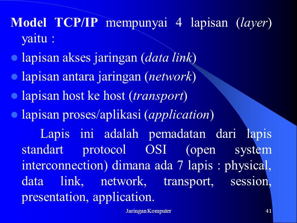 Model TCP/IP mempunyai 4 lapisan (layer) yaitu :