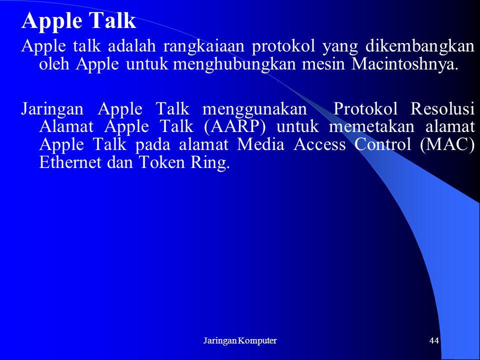 Apple Talk Apple talk adalah rangkaiaan protokol yang dikembangkan oleh Apple untuk menghubungkan mesin Macintoshnya.