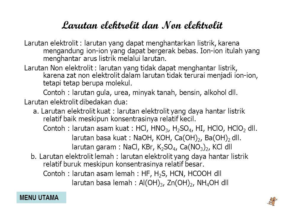 Larutan elektrolit dan Non elektrolit