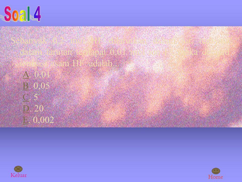 Soal 4 Sebanyak 0,2 mol HF dilarutkan dalam air, ternyata dalam larutan terdapat 0,01 mol ion F-, maka derajad ionisasi asam HF adalah...