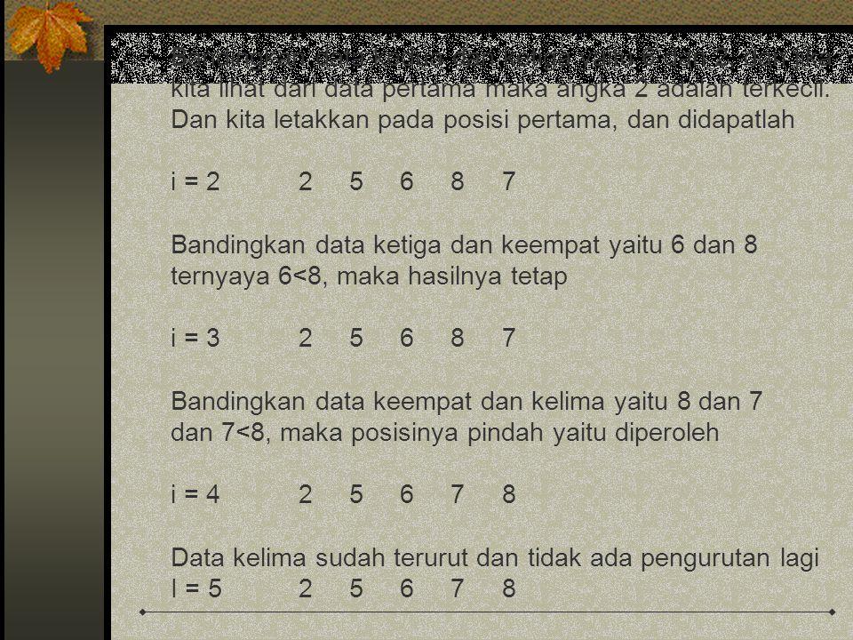 Bandingkan data kedua dan ketiga yaitu 6 dan 2, dan jika