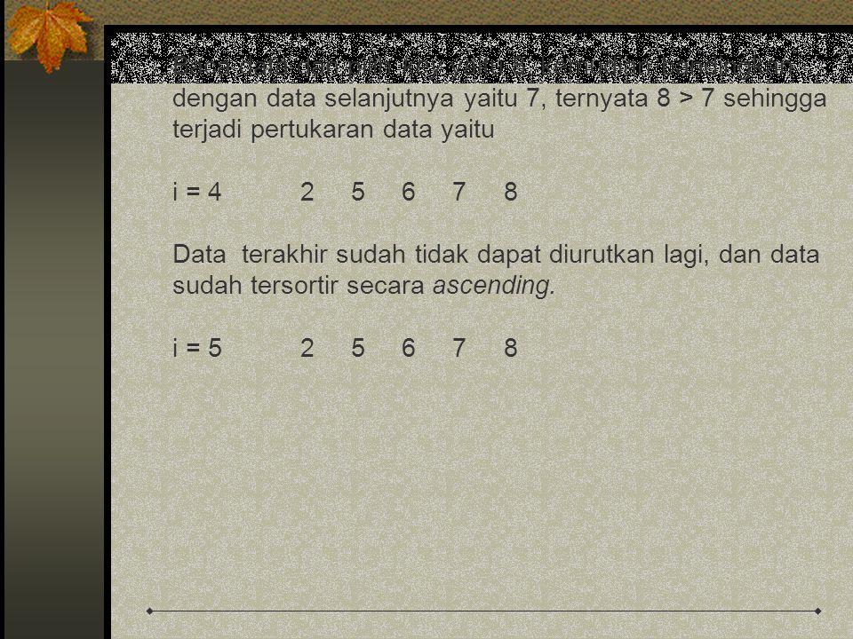 Baca data dan pilih key yaitu 8, kemudian bandingkan