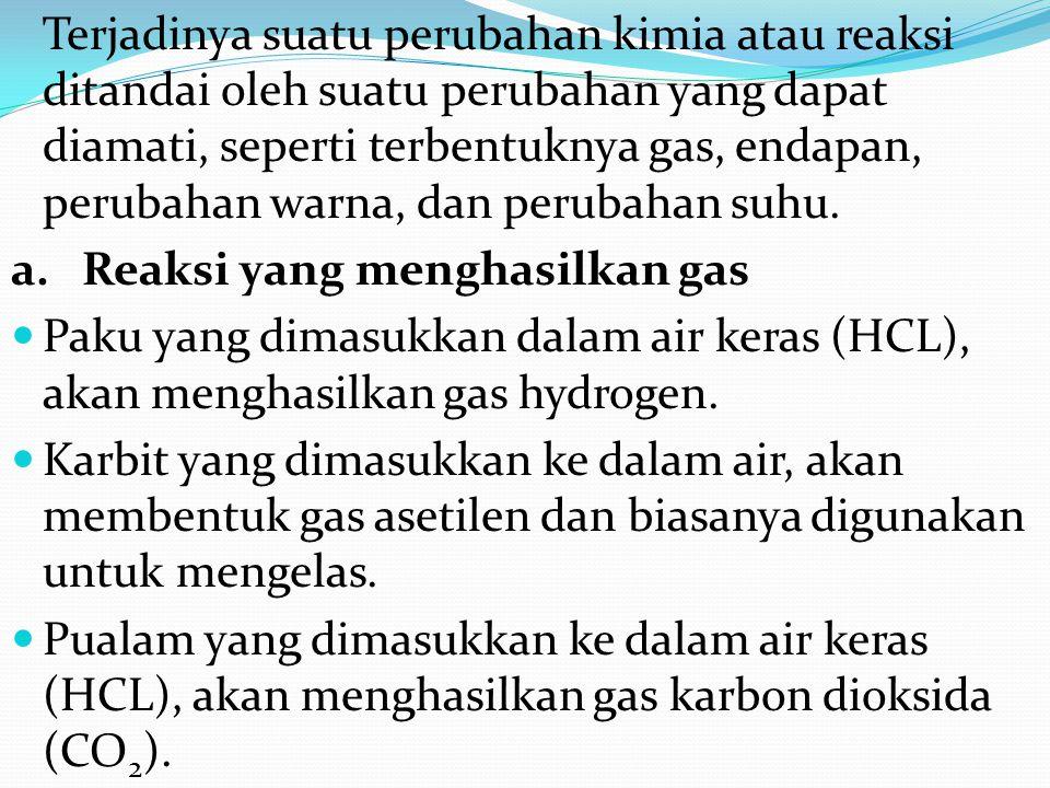 a. Reaksi yang menghasilkan gas