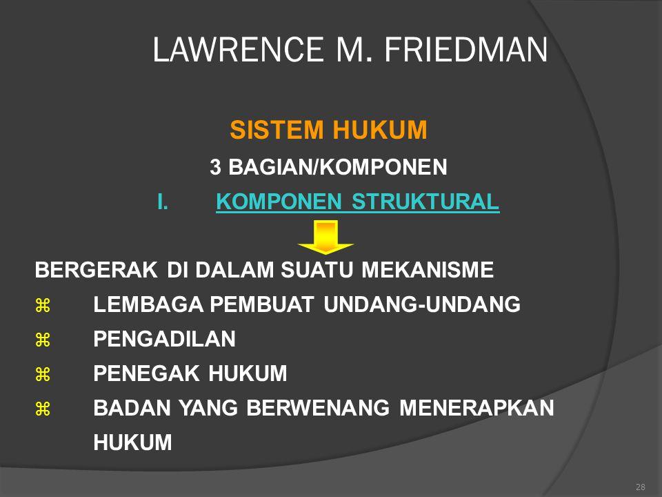 LAWRENCE M. FRIEDMAN SISTEM HUKUM 3 BAGIAN/KOMPONEN