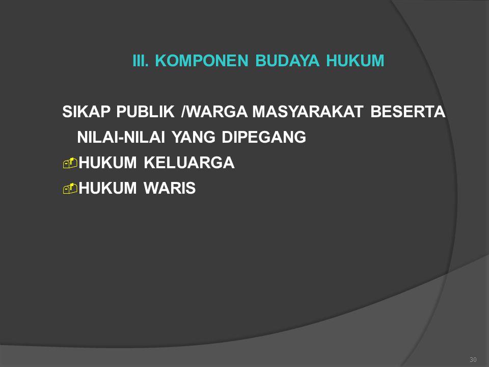III. KOMPONEN BUDAYA HUKUM