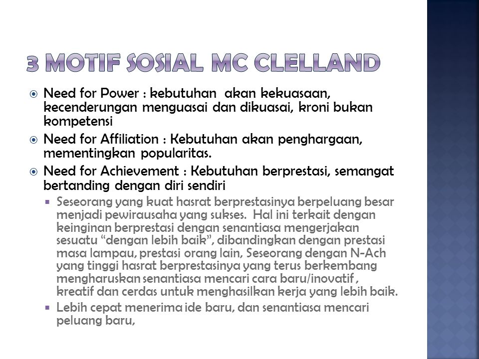 3 motif sosial Mc Clelland