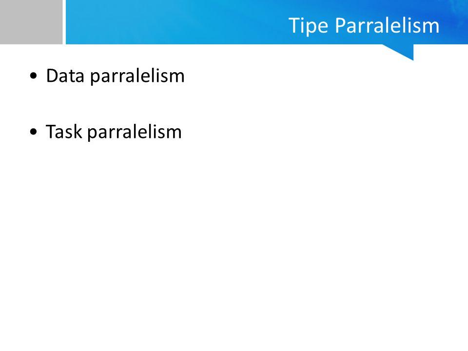 Tipe Parralelism Data parralelism Task parralelism