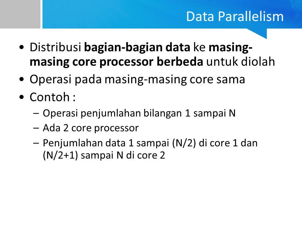 Data Parallelism Distribusi bagian-bagian data ke masing-masing core processor berbeda untuk diolah.
