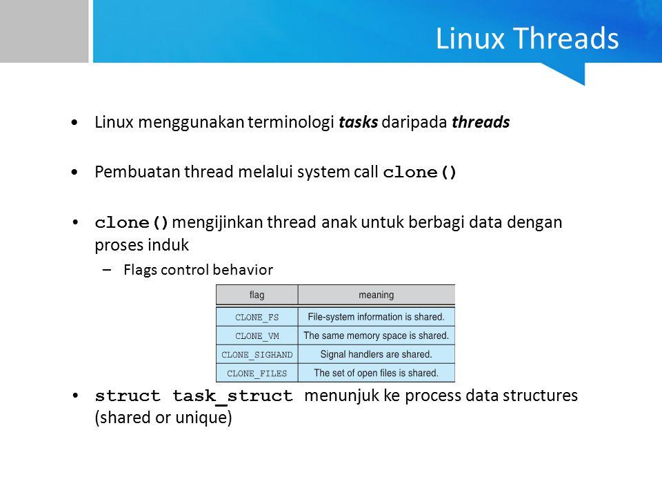 Linux Threads Linux menggunakan terminologi tasks daripada threads