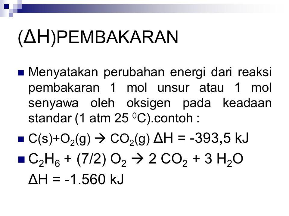 (ΔH)PEMBAKARAN C2H6 + (7/2) O2  2 CO2 + 3 H2O ΔH = -1.560 kJ