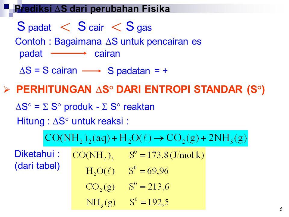 < < S padat S cair S gas Prediksi S dari perubahan Fisika