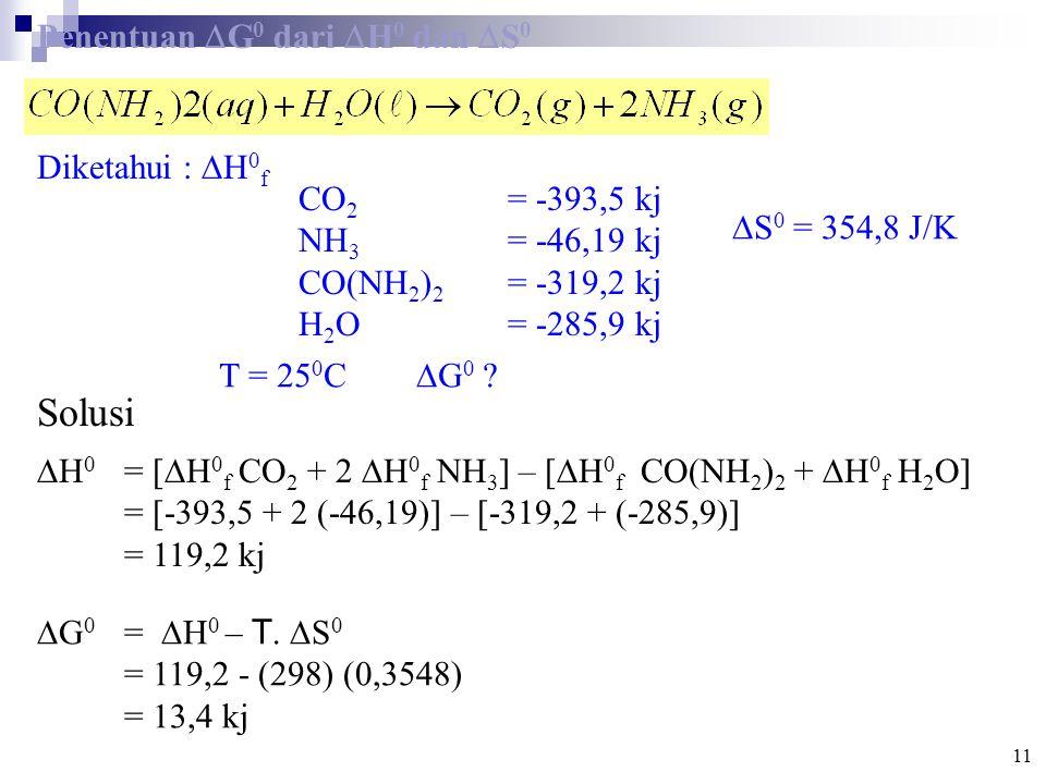 Solusi Penentuan G0 dari H0 dan S0 Diketahui : H0f CO2 = -393,5 kj