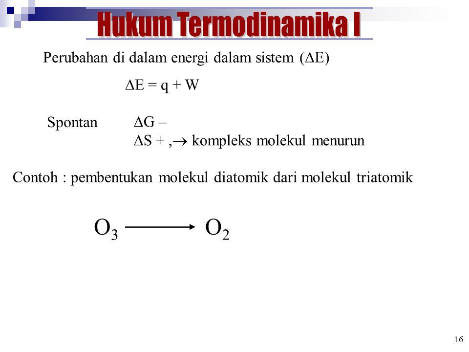 Hukum Termodinamika I O3 O2
