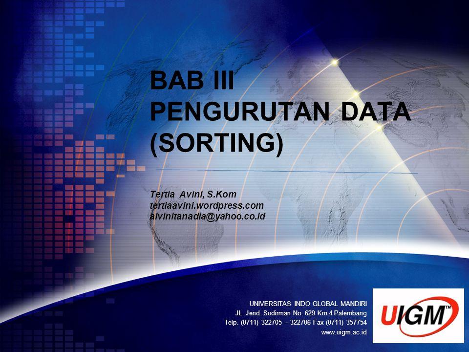 BAB III PENGURUTAN DATA (SORTING) Tertia Avini, S. Kom tertiaavini