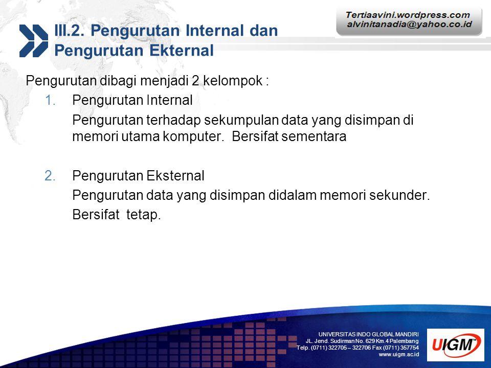 III.2. Pengurutan Internal dan Pengurutan Ekternal
