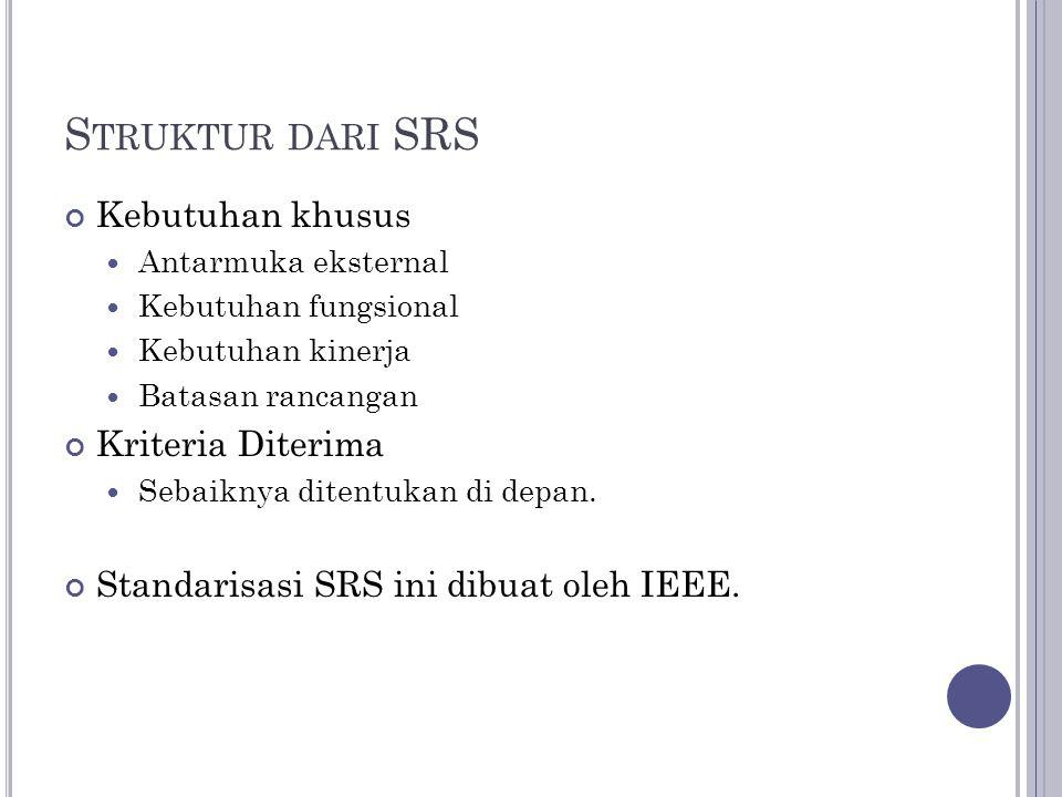 Struktur dari SRS Kebutuhan khusus Kriteria Diterima