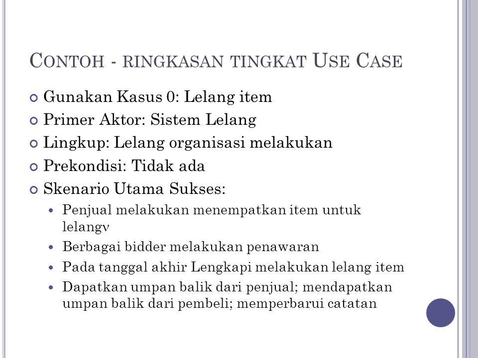 Contoh - ringkasan tingkat Use Case